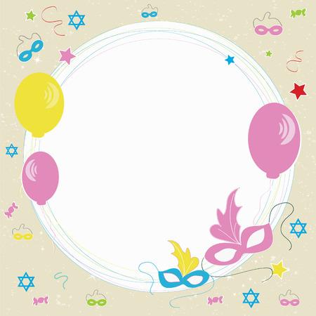 Happy Purim greeting card design.