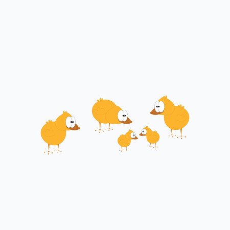 Cute happy little yellow Easter chickens Illustration