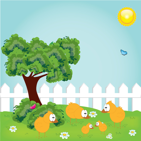 april: Cute happy little yellow Easter chickens  and spring tree