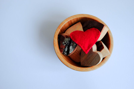 red heart in cup white background