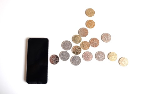 phone and coin idea white background