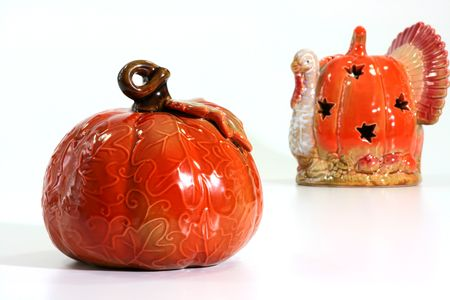 Candlesticks in the form of pumpkin for celebrating of Hellouina.
