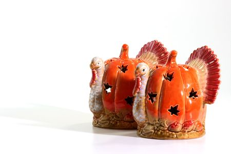 Candlesticks in the form of turkeys for celebrating of Hellouina.
