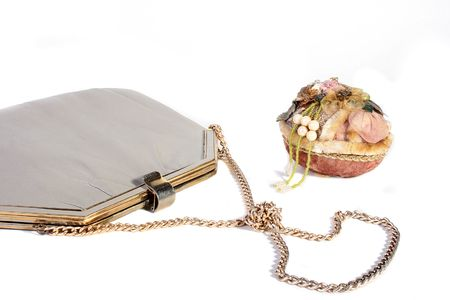 designer bag: Female handbag with a chain and a casket. Stock Photo