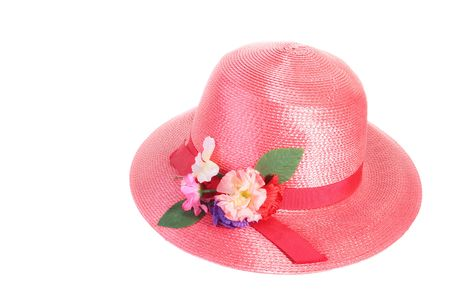 Female red straw hat with a peak.