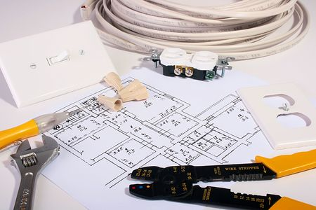 energy work: The electric scheme, devices and tools for work in house conditions. Stock Photo