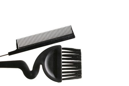 Hairbrush and brush for painting of hair in salon and a hairdressing salon.