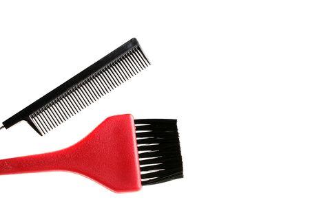 Cepillo Y Pincel Para Pintar De Pelo En El Salón Y Una Peluquería ...
