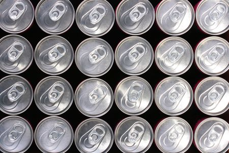 Background made of tin containers for water with gas - soda. Stock Photo - 6260313