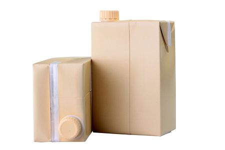 Two cardboard containers for juice or milk with plastic covers. photo