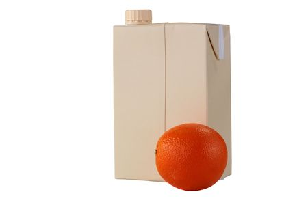The container for orange juice from a cardboard with a plastic twisting cover and an orange in the foreground. Stock Photo - 6292336