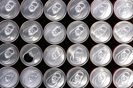 Background made of tin containers for water with gas - soda. Stock Photo - 6320451