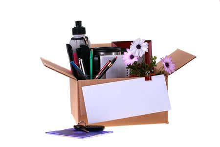 Cardboard box collected in connection with dismissal, to a box the envelope with the check is pinned. Stock Photo - 6320486