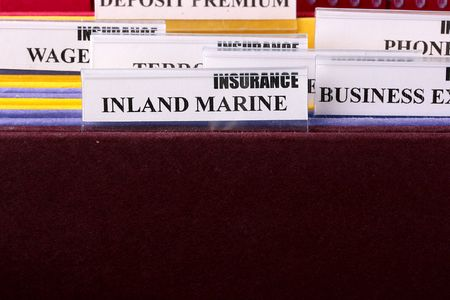 Folders for documents at office of the insurance company. photo