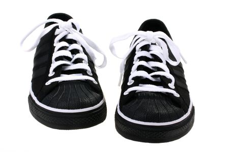 undone: Easy footwear for playing sports with white laces.