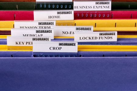 locked: Folders for documents at office of the insurance company with Crop.
