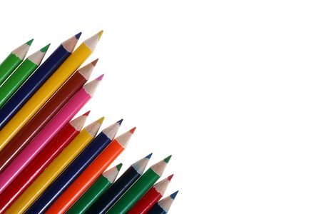 Set of colour pencils on a white background. Stock Photo - 6430452