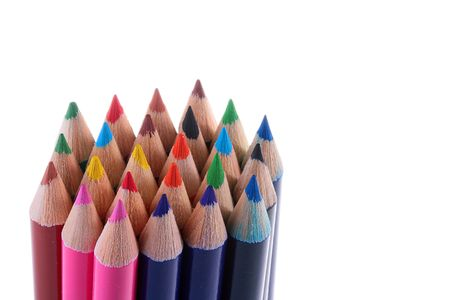 Colour pencils are collected in a bunch on a white background. Stock Photo - 6463275