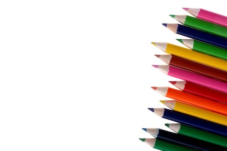 Set of colour pencils on a white backgrou Stock Photo - 6463325