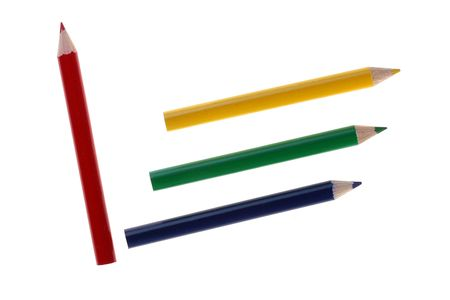 Three pencils for drawing in red scale of colour. Stock Photo - 6499332
