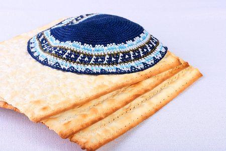 yarmulke: The Jewish theme, skullcap - a headdress and matza - an unleavened bread.
