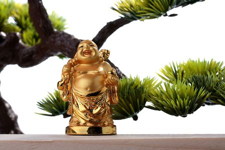 Budai or Hotei - god of riches, he is popularly known also as the Fat Buddha. 版權商用圖片