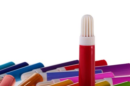 Red marker in the foreground, on a back background colour markers. Stock Photo - 6499388