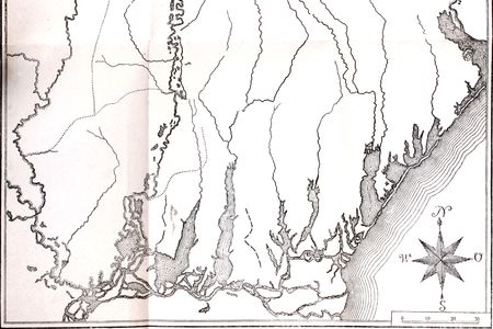 topographical: Photo of an ancient map without topographical names.