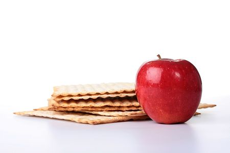 Matza - Jewish national and religious meal on a white background. Banco de Imagens