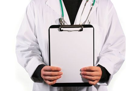 proctologist: The doctor holds before itself a paper blank leaf.