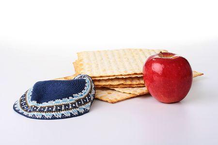 matza: Matza - Jewish national and religious meal on a white background. Stock Photo