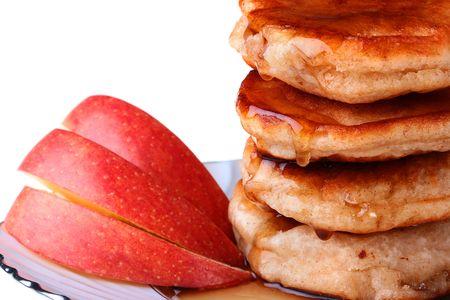 Comida ligera - pancake y manzanas con miel. Foto de archivo - 6547540