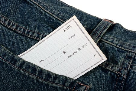 The blank banker's check in working clothes pocket. Stock Photo - 6589727