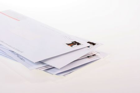 heap: Post envelopes lie the friend on the friend, a background white.