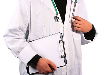 proctologist: The doctor gets from a pocket pen for record in the case record. Stock Photo