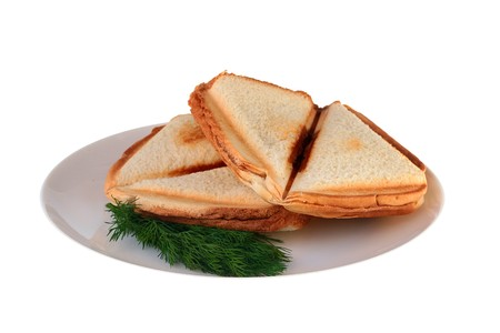The hot sandwich is prepared in a roaster on a plate together with a fennel branch.