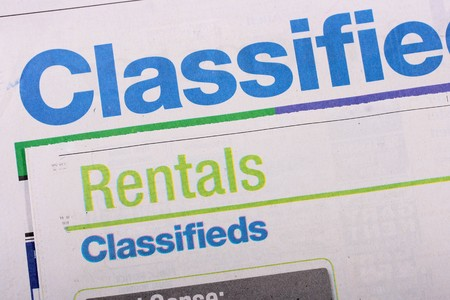 classifieds: Word Classifieds as heading heading in the newspaper.