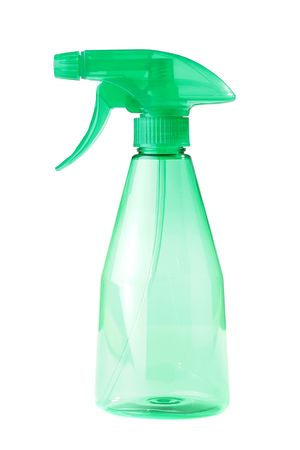 Plastic green transparent bottle with a spray for water or liquid chemicals on a white background.