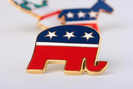 El elefante - un s�mbolo del Partido Republicano en los Estados Unidos, se utiliza en la empresa preelectoral. Foto de archivo - 7029693