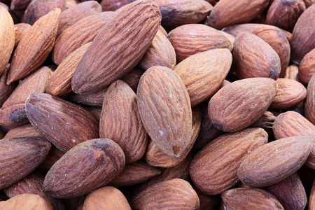 cleared: Crop Almond nut, nuts are cleared and are in the market. Stock Photo