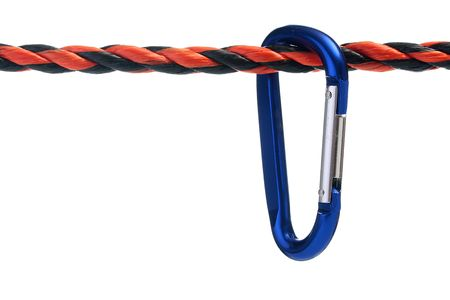 carbine: Steel industrial carbine fixed on a rope. Stock Photo