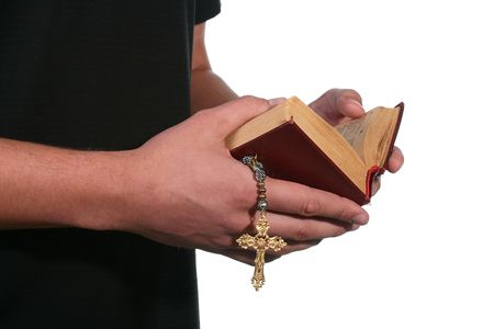 The man has control over and reads the bible. Stock Photo - 7179108