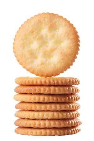 둥근 형태의 쿠키는 더미, 배경 흰색에 의해 결합됩니다.