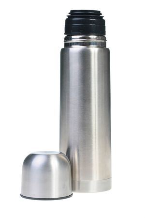 tightness: Metal container for preservation of a hot or cold liquid on a white background.