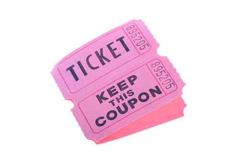 raffle: Tickets for a pink cardboard for visiting of show, concerts etc. Stock Photo