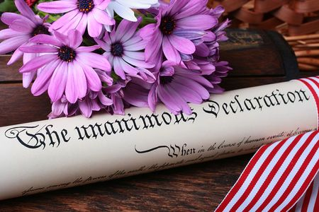 declaration: The declaration of the Congress of the United States of America on independence, bouquet of colours.