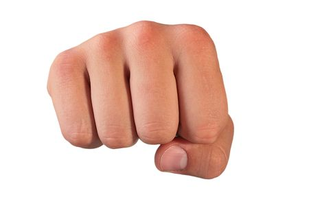 The mans hand is clenched in a fist on a white background. Stock Photo