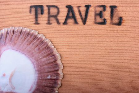 The wooden panel with a hot stamping Travel and a cockleshell.