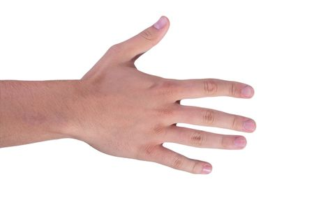 The mans hand shows five fingers, making the account.