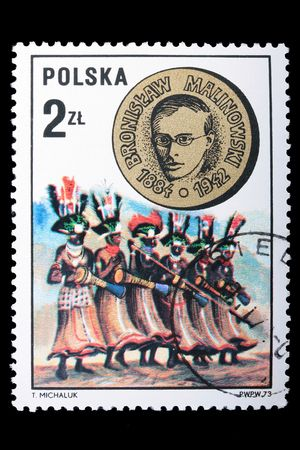 anthropologist: Poland - CIRCA 1973: A stamp is printed in Poland and visited Bronislaw Malinowski, let out CIRCA in 1973. Stock Photo